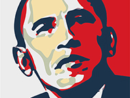 Imitation of famous Barack Obama poster
