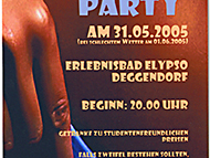 Flyer for a beachparty in Deggendorf 2005