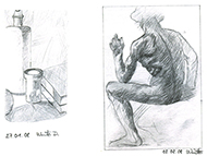 Drawings of bottle and sitting people